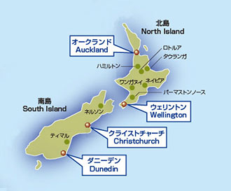 ニュージーランドの概略地図